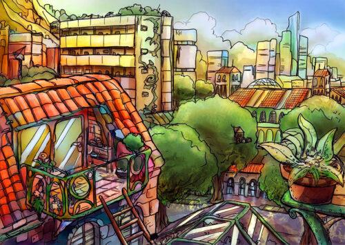 riflessioni sul solarpunk a cura di Silvia Treves - botanical minded city by kamikaye deviantart